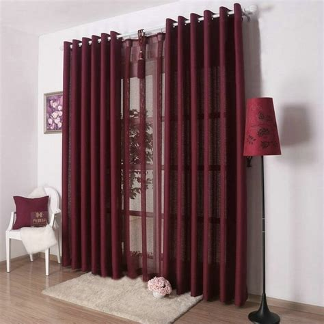 Burgundy Color Curtains New Arrival Solid Color Curtains For Living Room Plain Curtains Voile 9 Colors Grey Burgundy