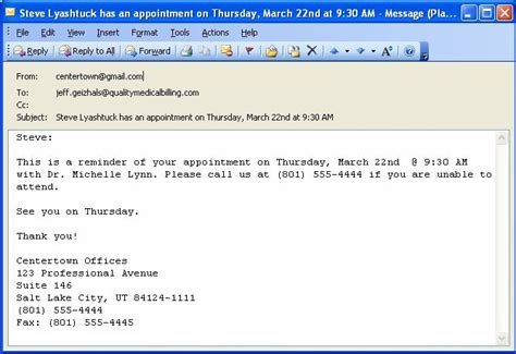Exles Of Potluck Email At Work Just B Cause Appointment Reminder Template Email
