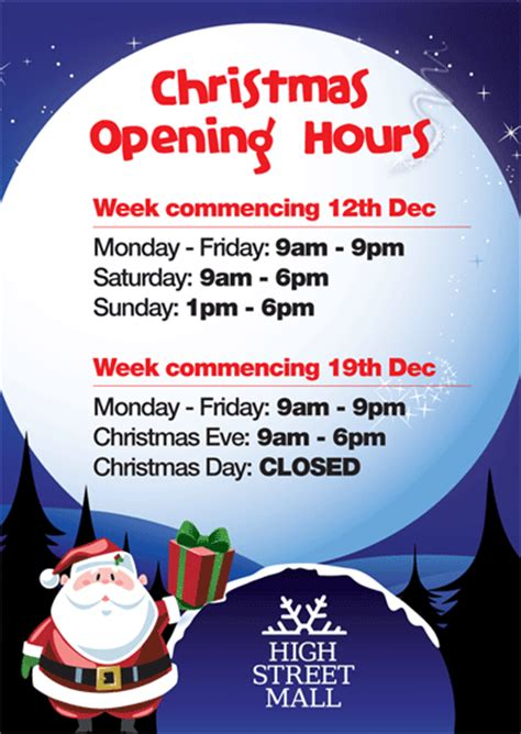 christmas opening hours high street mall shopping in