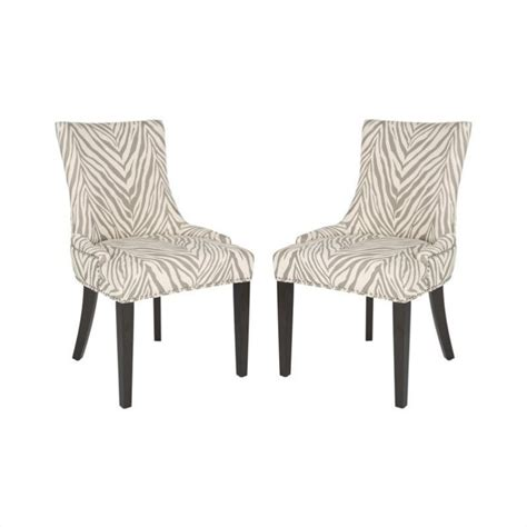 safavieh lester dining chair in grey zebra set of 2