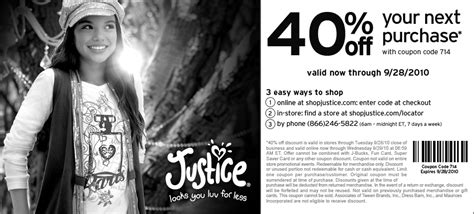 justice coupons 40 off printable 2012 justice in store coupons release date price and specs