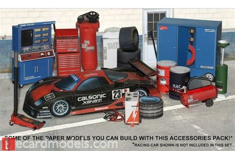 Model Car Garage Diorama Accessories by 1 18 Automotive Garage Diorama Accessories Paper Model