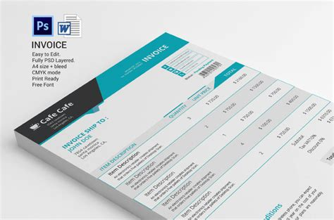 graphic design invoice psd creativemarket business invoice template 331406 other