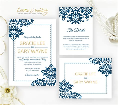 damask wedding invitation kits royal blue and gold damask wedding invitation kits printed
