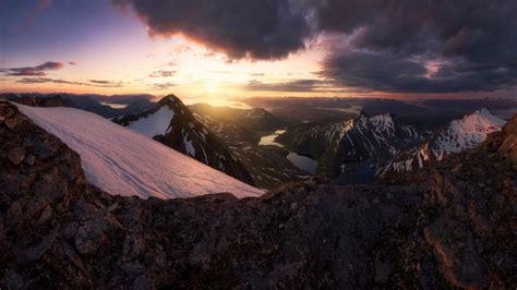 nature landscape mountain mist sky clouds sunset