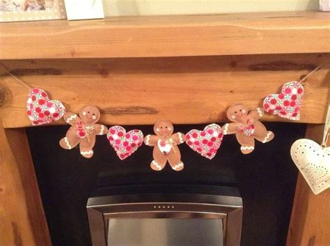 handmade shabby chic fabric gingerbread men and love heart