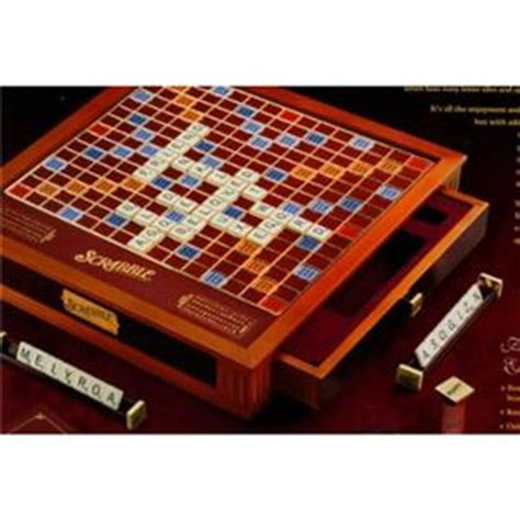 rotating scrabble scrabble premier wood deluxe edition onyx luxury leather