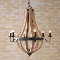 Wooden Chandelier Lighting Wooden Wine Barrel Stave Chandelier Chandeliers By Shades Of Light