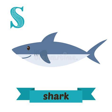 baby shark x2 shark s letter cute children animal alphabet in vector