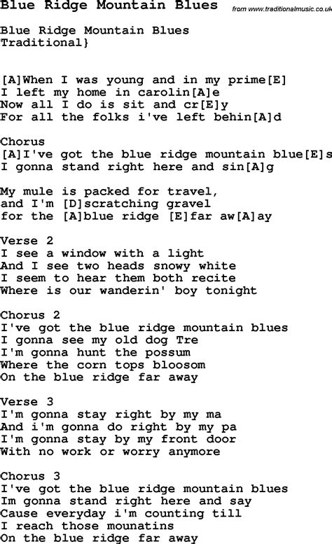 blue song chords traditional song blue ridge mountain blues with chords