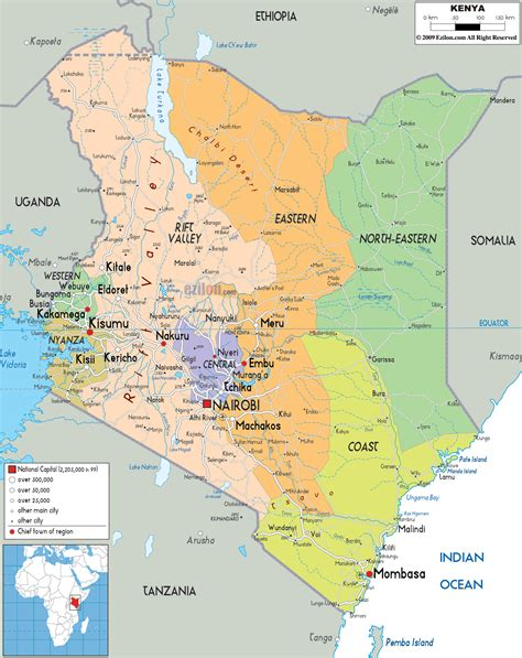map of kenya detailed political map of kenya ezilon maps