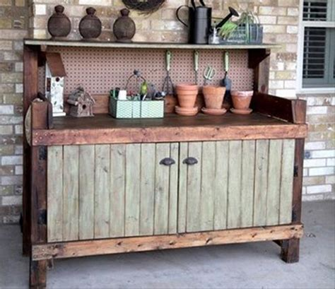 potting bench with cabinet wood pallet potting benches pallet ideas recycled