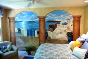 greek wall murals santorini greece mural in a bedroom by tom taylor of wow