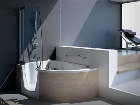 Modern Bath And Shower Combo by Modern Corner Bathtub With Shower Combo From Teuco Designtodesign Magazine Designtodesign
