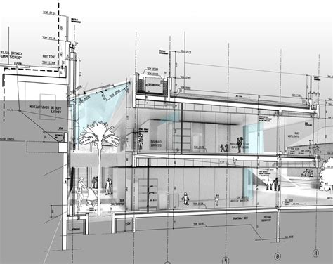 section technical drawing cab architectes gt children s day care center in la trinite