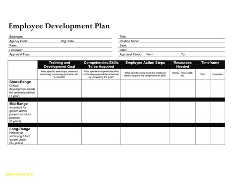 employee development plan employee development plan