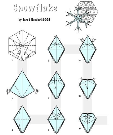 Make Origami Snowflake - how to fold origami decorations ornate winter