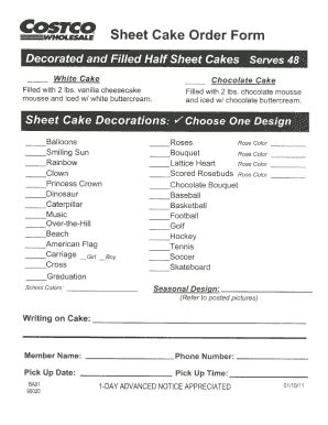 costco cakes bakery fill  printable fillable blank pdffiller