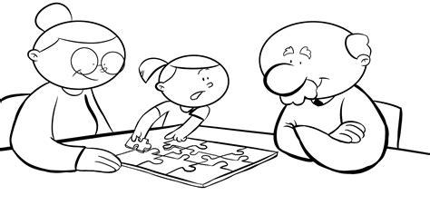 colorear abuela haciendo manualidades con sus nietos dibujos con ni 241 os colorear abuelos haciendo un puzzle con