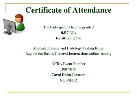 certificate of attendance seminar template best photos of sle certificate of attendance template