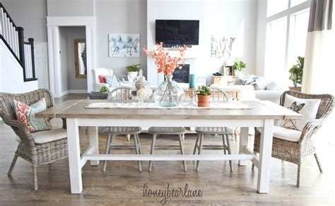 Dining Room Tables With Built In Leaves by Diy Farmhouse Table And Bench Honeybear Lane