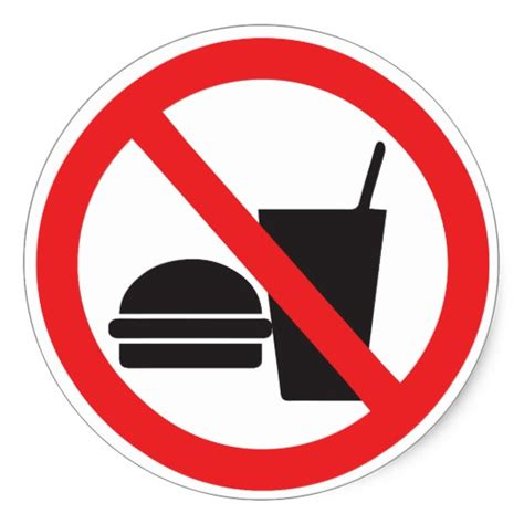 no food or drink no food or drink sign classic round sticker zazzle com