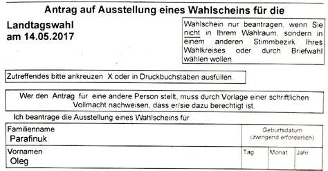 Antrag Briefwahl Nrw Landtags 173 Wahl 2017 In Nord 173 Rhein Westfalen Bundestagswahl 2017