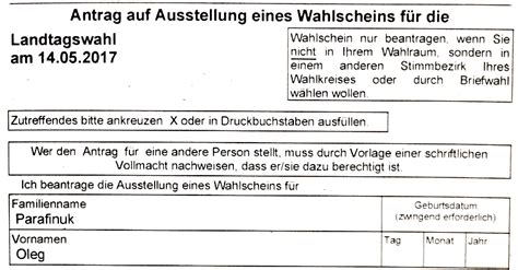 Antrag Briefwahl Landtagswahl Niedersachsen Landtags 173 Wahl 2017 In Nord 173 Rhein Westfalen Bundestagswahl 2017