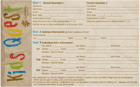 church volunteer info registration card template registration card gateway church childrens ministry