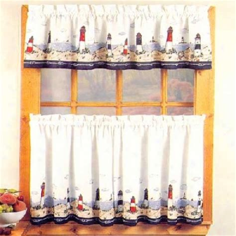 Lighthouse Kitchen Curtains Lighthouse Window Curtains Lighthouse Window Curtain Set Valance 24 Tiers Coastal Buy