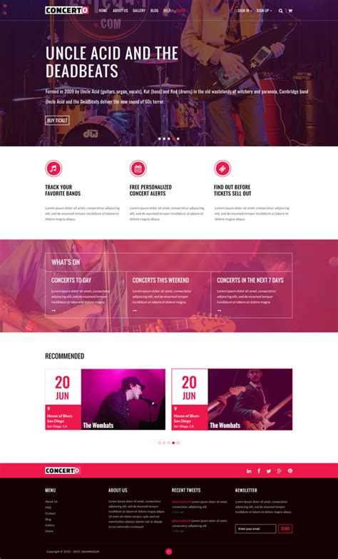 net layout event concerto music events tickets website templates on