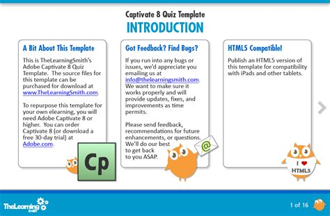 free adobe captivate templates the learning smith captivate 8 quiz template
