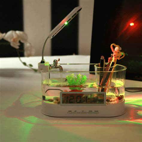 Usb Desktop Aquarium Mini Fish Tank Akuarium Mini With Lcd Display usb desktop aquarium mini fish tank with running water