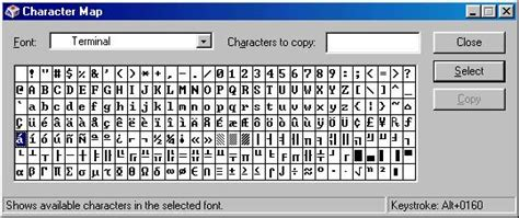 Character Map Letter E Typing Characters