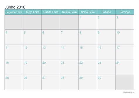 Calendario Junho De 2018 Calend 225 Junho 2018 Para Imprimir Icalend 225 Pt