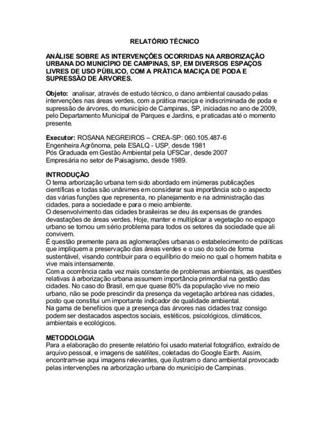 Relatório técnico arborização campinas ro negreiros
