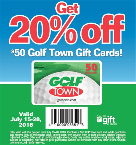 Gift Cards 20 Off - 20 off golf town gift cards loblaws canada