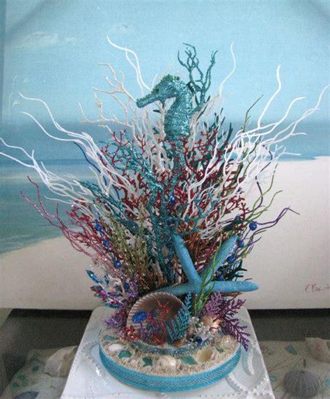 seahorse coral reef glitter centerpiece wedding
