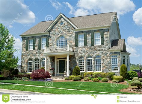 maryland house stone faced single family house home suburban md stock