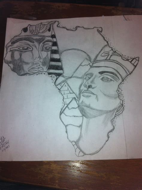 egyptian king and queen tattoo king tut and nefertiti africa outline drawing by ced