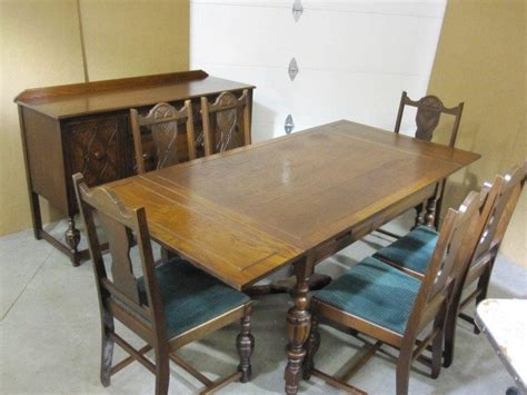 antique dining set buffet server table 6 chairs for