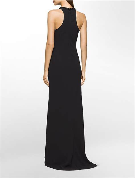 Calvin Klein Womens Beaded Halter Gown Dress
