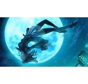 Anime Girl Blue Moon