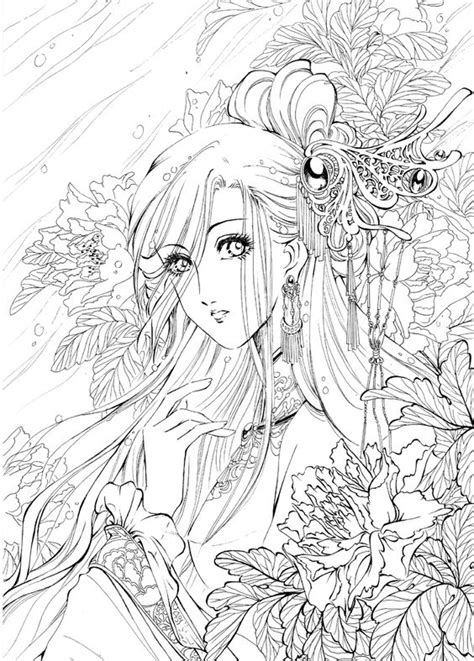 colouring and painting fille aux fleurs coloriage anti stress