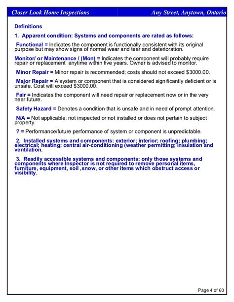 equipment condition report template sle home inspection report