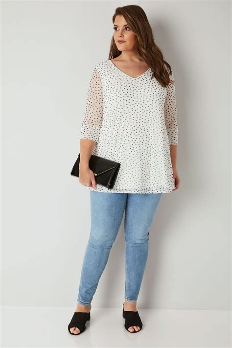 Code Dot Top Black Import yours ivory black polka dot mesh top plus size 16 to 36