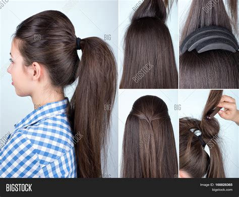 hair styles with the back hair bumped under and top hair short volume hairstyle ponytail bouffant image photo bigstock