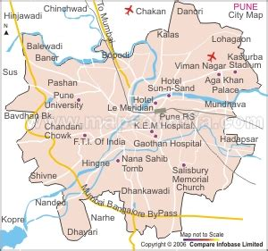 city map of pune poona map and poona satellite image