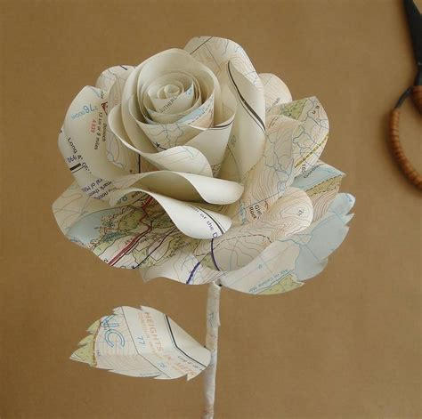 Paper Roses - map paper by suzi mclaughlin notonthehighstreet