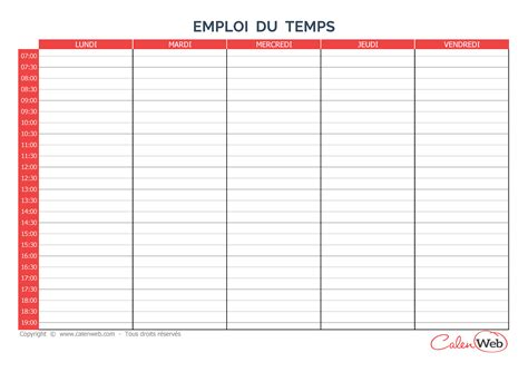 Calendrier Hebdomadaire 2018 Modele Planning Hebdomadaire Vierge Ccmr